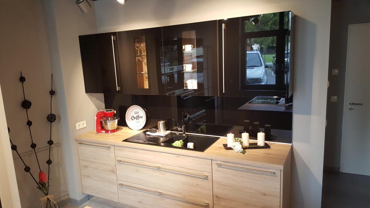 ausstellungsk che nobilia modell riva focus in eiche mit bosch elektroger ten im abverkauf. Black Bedroom Furniture Sets. Home Design Ideas
