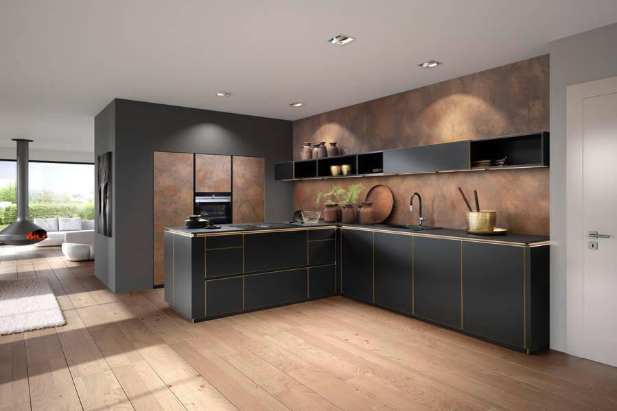 Nolte Küche mit schwarzen Fronten (Flair schwarz - Ferro Corenstahl). Foto: Nolte