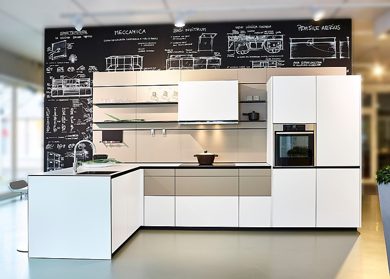 Italienische Designküche im Abverkauf: Valcucine Forma Mentis in weiß mit grifflosen Fronten
